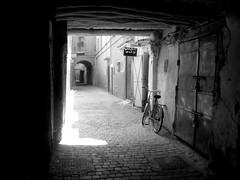 Marrakech Medina (jleathers) Tags: blackandwhite bw bicycle alley arabic cobblestones morocco marrakech medina marrakesh