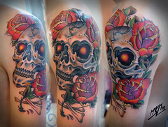 skull and roses / neotraditional tattoo (Misha Mack TN) Tags: roses art tattoo ink skull design eyes russia traditional vivid oldschool novosibirsk            taknado piersib