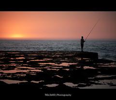 Field of Sunset (Feo David) Tags: ocean sunset shadow sea orange mer reflection water field canon de eos soleil fisherman coucher ombre jour reflet morocco maroc 5d pecheur contre rabat afrique basse atlantique altantic marr