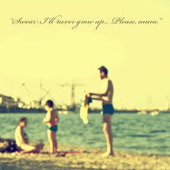 I don't wanna grow up (Paolo Castronovo) Tags: family sea summer portrait blur 6x6 beach writing square seaside blurry colours child famiglia text medium script 500x500 canong10 paulinnaire