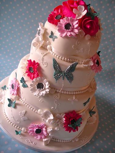 cerise and teal summer garden cake