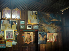 Pictures in wooden house in hilltribe village (Ro Hetherington) Tags: pictures thailand karen northern hilltribe
