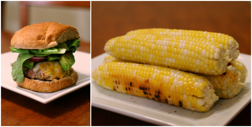 Grilled Sweet Corn and Turkey Burgers