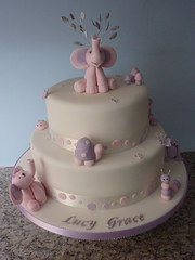 Christening cake (traceybestcakes (not enough hours in the day)) Tags: pink baby butterfly elephants catterpillar christeningcake traceybest