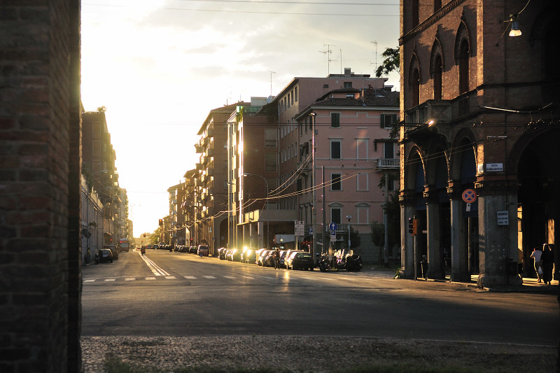 The Sun Sets Along the Streets of Bologna