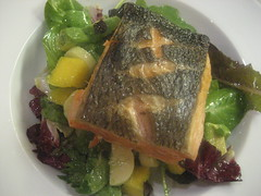 Crispy-skinned salmon and salad