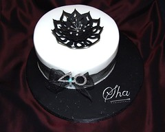 Black white and bling birthday cake (Alix'sCakes - away for a while) Tags: birthday white black cake chocolate ribbon 40 sparkly fondant diamante fantasyflower alixscakes
