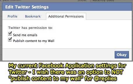 Facebook Twitter Application Settings