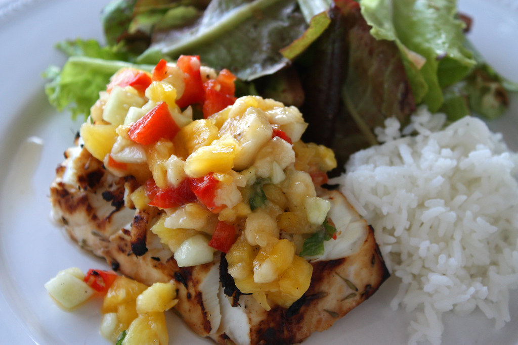 Caribbean Halibut with Tropical Salsa