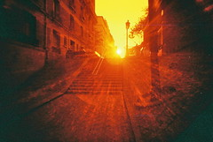 Paris flare steps (25ThC) Tags: camera sun film analog 35mm lomo lomography slim wide flare 100 analogue filmcamera viv vivitar ultra sunflare analoguecamera redscale vivitarultrawideandslim redscaled vivitaruws vivuws lomoredscale100 lomoredscale 25thc