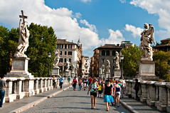 Ponte Sant'Angelo (LimeWave Photo) Tags: city travel italien bridge blue sky italy rome roma movie italia capital ponte pedestrians rom lazio rm angelsanddemons pontesantangelo romanbridges aelius aelian limewave