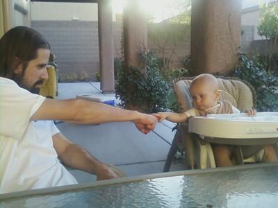 Baby fist bump.