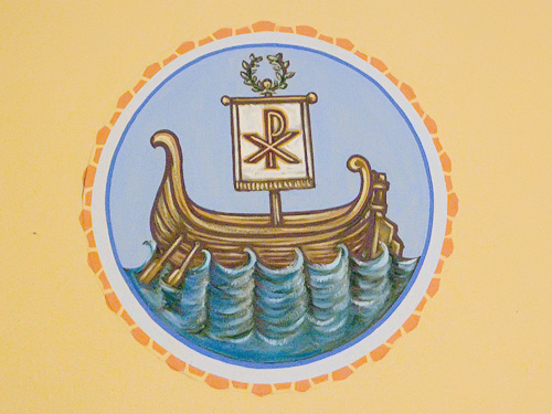 Saint Anthony Roman Catholic Church, in Lemay, Missouri, USA - medallion of boat