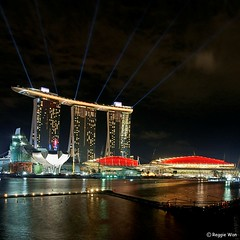 Eve of National Day at the MBS. (Reggie Wan) Tags: tourism night ir singapore landmark casino ndp mbs nationalday marinabay integratedresort marinabaysands sonyalpha700 reggiewan