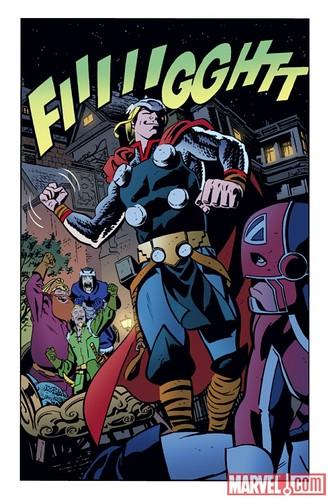 Arte de Chris Samnee para Thor: The Mighty Avenger 4. O Deus do Trovão se estranha com o Capitão Britânia.