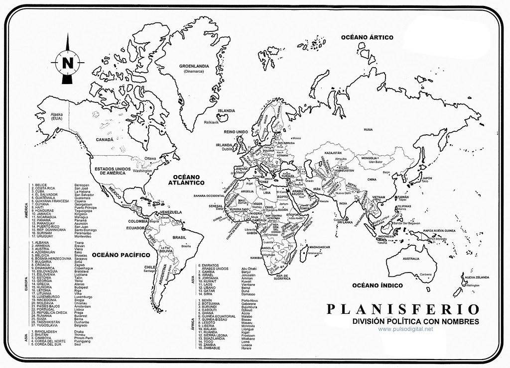 Planisferio - Division politica con nombres