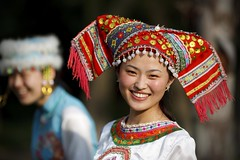 Zhuang Minority Girl (Michael Steverson) Tags: china travel costumes woman cute tourism girl beautiful canon asian costume promo pretty chinese chinadigitaltimes 5d miao minority brochure catalogue zhuang guangxi markii
