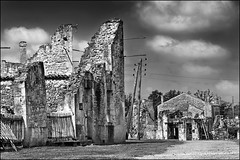 oradour-sur-glane (heavenuphere) Tags: houses bw france history abandoned memorial war village massacre wwii burnt ww2 destroyed limousin oradoursurglane hautevienne 55250mm 10june1944