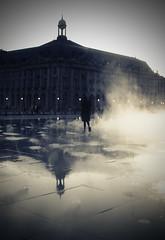 (Che-burashka) Tags: man france reflection silhouette evening dusk smoke bordeaux places steam bursa canonef28mmf18usm miroirdeau 10hols