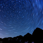 Perseid: Star Trails, Lake Ann