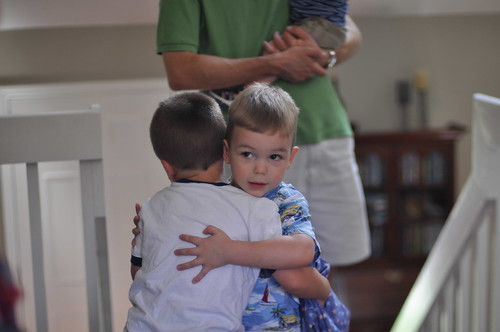 Aedan and Benjamin hug it out