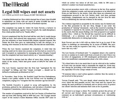 Legal bill wipes out net assets - The Herald January 02 2007
