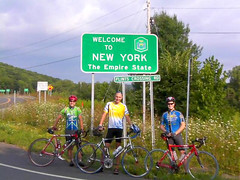 Paul, Ornoth, and Jay ready to roll at the New York state border.