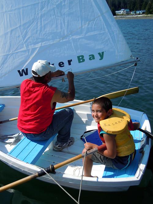 cousins prepare to sail, Kasaan, Alaska