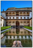 Nasrid palace, Alhambra, Granada (Mike G. K.) Tags: windows people lake reflection building water architecture court reflections spain nikon raw arch balcony decoration arches andalucia alhambra granada bushes hdr collumns nasrid arrayanes myrtles 18200mm photomatix nasridpalace nazaries aeb courtofthemyrtles 3exp palaciosnazaries patiodearrayanes epigraphs nikond5000 mikegk:gettyimages=submitted afsnikkor18200mm13556giied