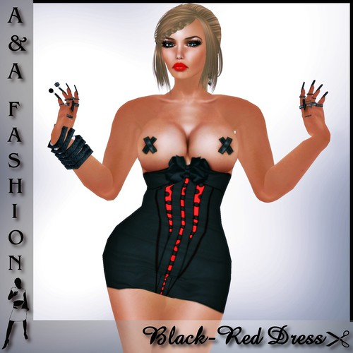A&A Fashion Black Red Dress