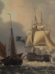 Detail of A Naval Two-Decker Hove to off the Devon Coast with Small Yawl by George Webster 1797-1832 (mharrsch) Tags: california sea museum painting ship devon sail ventura sailingships oiloncanvas twodecker 18thcenturyce 19thcenturyce yawl georgewebster mharrsch snaptweet venturacountymaritimemuseum