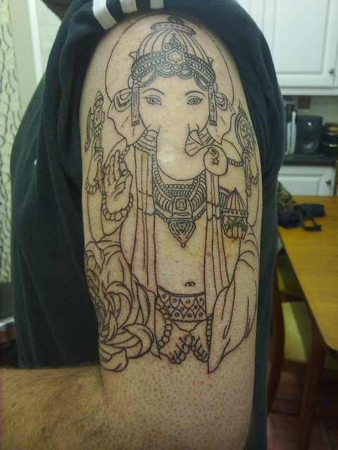 Had most of the linework done on my Ganesh tattoo, all done in one (rather