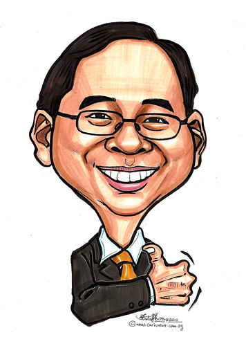 Caricature of Singapore Minister Gan Kin Yong