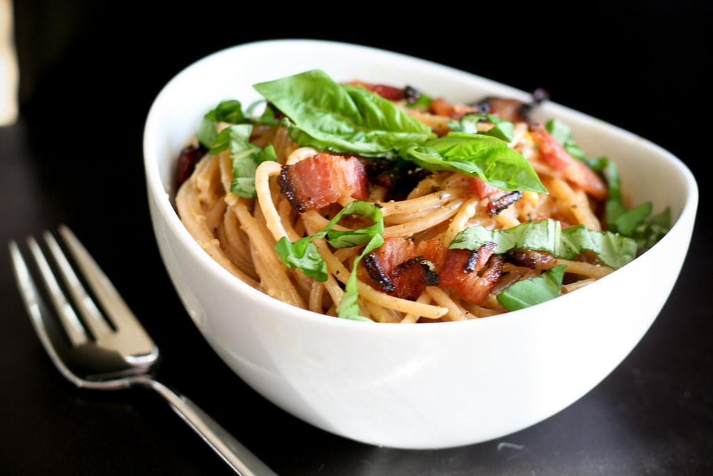 Corn, Bacon & Basil Spaghetti