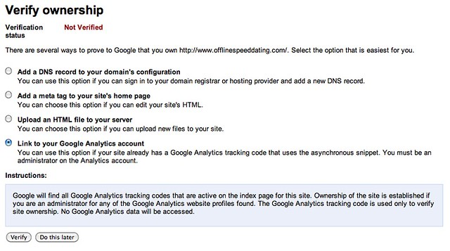 Google Webmaster Tool Verification Options