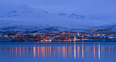 Akureyri Reflections (v on life) Tags: blue sunset mountain snow reflection water iceland dusk akureyri ringroad