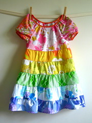 the rainbow twirly dress (little cumulus) Tags: girl vintage bed rainbow dress boom sheets molly sis peasant linens twirly