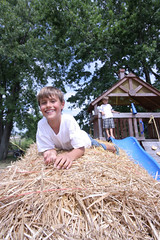 Straw bale playgroung (Gordana AM) Tags: family blue summer two ontario canada tree green boys childhood playground vertical fun outdoors play brothers farm hey straw august structure treehouse equipment windsor activity bales boyhood playful hca wagners lepiafgeo