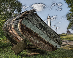 Sturgeon Point Lighthouse Fractalius (hz536n/George Thomas) Tags: summer sky lighthouse green boat rust lab michigan rusty july canon5d upnorth hdr lakehuron 2010 smrgsbord labcolor ef1740mmf4lusm hdrphotomatix sturgeonpoint cs5