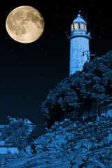 Hale Moonlit Lighthouse (juliereynoldsphotography) Tags: moon lighthouse night photoshop hale