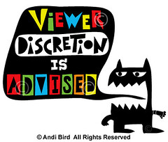 Viewer Discretion is Advised t shirt + fabric (birdarts) Tags: funny humor offensive cartoons coolshirt troublemaker whitetshirts printedtshirt handdrawntype babyonesie kidstshirt kidsshirt viewerdiscretionisadvised badasstshirt monstertshirt andibird monsterstshirt