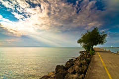 Summer Sunset at Michigan Beach in Port Dalhousie Pier, Ontario (Christopher Brian's Photography) Tags: sunset lighthouse ontario canada tree clouds pier stcatharines lakeontario sunrays sunbeam portdalhousie tpmg canoneos7d tokina1116f28 portdalhousielighthouse