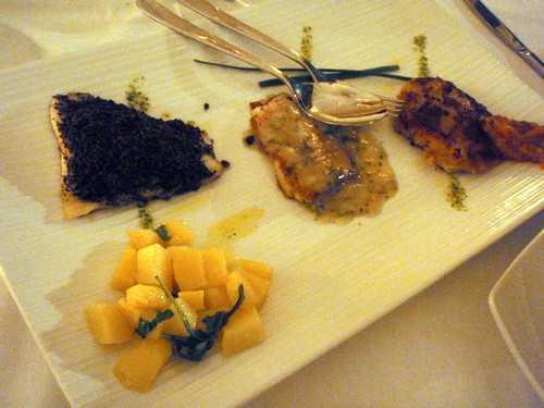 Tris of fish fillets