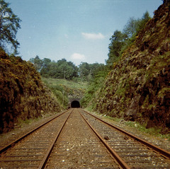 Glenfarg, June 1970. (Kingfisher 24) Tags: perthshire tunnel viaduct cutting disusedrailway glenfarg instamatic104