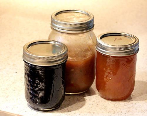 Blueberry jam, Curry Peach Chutney, Peach Jam