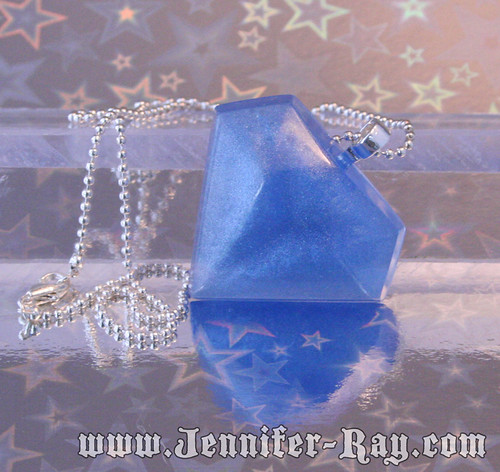 Sky Blue Bling - Faux Diamond Resin Necklace