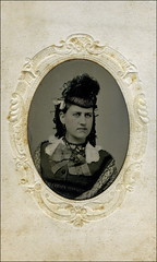 Tintype (ookami_dou) Tags: portrait woman hat vintage frame tintype ferrotype ribbon embossed