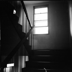 Stairway Inc (-nasruddinmukhtar-) Tags: nasruddin nasruddinmukhtar japan chiba kisarazu knct hostel stair p6 pentaconsix carlzeiss jena mc biometar 80mm f28 fujifilm neopan across 100 120 6x6 bw blackandwhite monochrome  mf mediumformat analog analogue