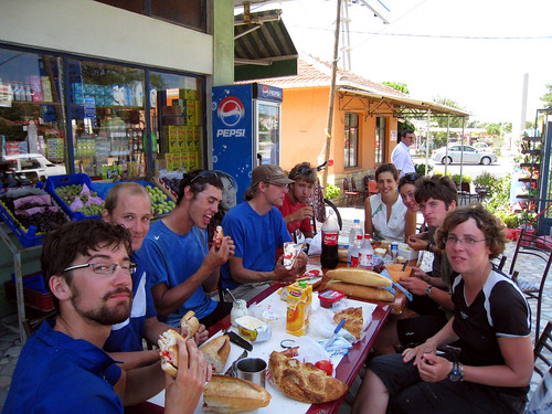 Lunch with cycle tourists at Subasi