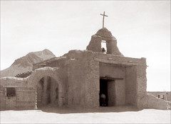 Unknown Spanish Colonial Era Church, Toned (newmexico51) Tags: old man newmexico church vintage found cross antique nm spanishcolonial